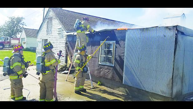 New Underwood firefighters were able to confine the fire to the structure of origin, stopping the spread to nearby structures. Photo courtesy of the Pennington County Fire Service.